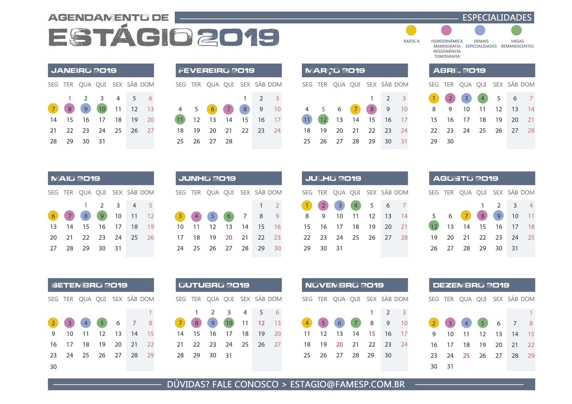 calendario estagio 2019 famesp